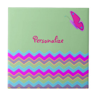 Pretty Butterfly & Stripes Small Square Tile