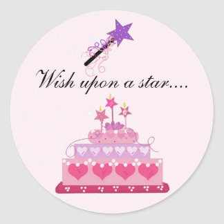 Pretty Cake and Stars with Saying Round Sticker