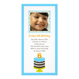 Pretty Cake Photo Birthday Party Invitation - Blue Personalized Photo Card