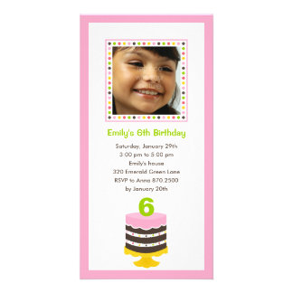 Pretty Cake Photo Birthday Party Invitation - Pink Customized Photo Card