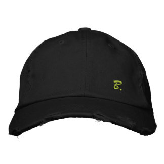 """Pretty Cap in Consumed Sarja Embroidered Letter """"B Baseball Cap"""