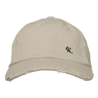 "Pretty Cap in Consumed Sarja Embroidered Letter ""K Embroidered Hat"