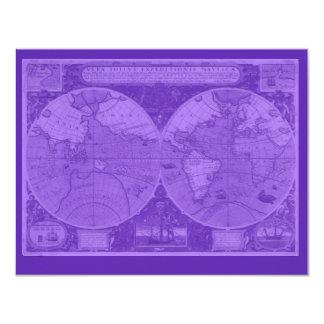 Pretty Cards with Map Imprint 11 Cm X 14 Cm Invitation Card