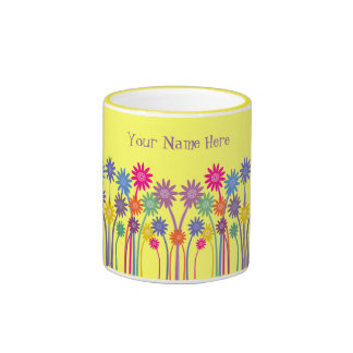 Pretty Cartoon Flowers Customizable Yellow Mug