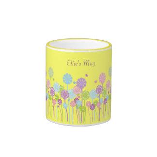 Pretty Cartoon Flowers Yellow Mug