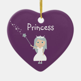 Pretty Cartoon Princess Customizable Purple Christmas Ornament