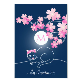 Pretty Cat Cherry Blossoms Moon Pink Sakura Blue Custom Announcements