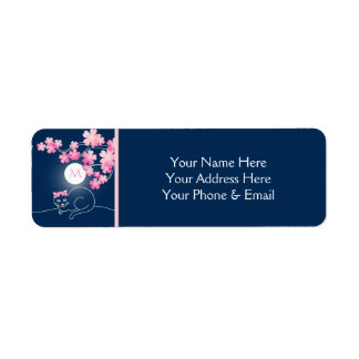 Pretty Cat Cherry Blossoms Moon Pink Sakura Blue Return Address Label