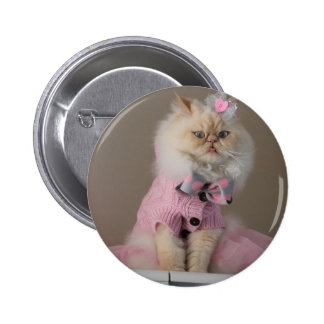 Pretty  cat  in Pink Sweater 6 Cm Round Badge