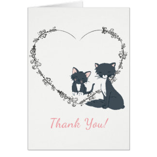 Pretty Cat, Kitten and Flower Heart Thank You Card