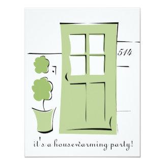 Pretty Celery Green Door 11 Cm X 14 Cm Invitation Card
