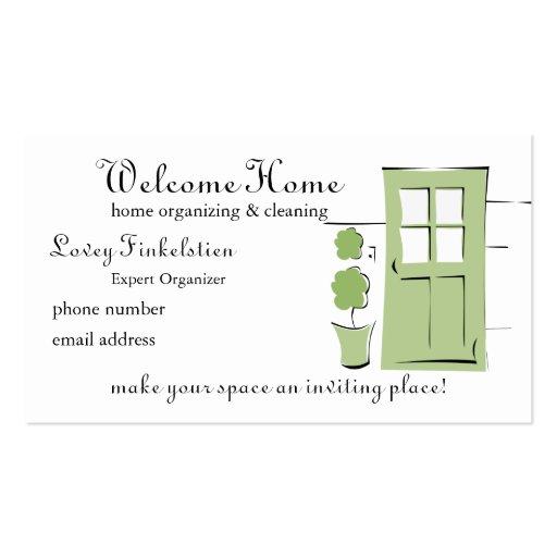 Pretty Celery Green Door Business Cards
