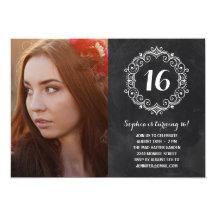 "Pretty Chalkboard | Photo Sweet Sixteen Birthday 5"" X 7"" Invitation Card"