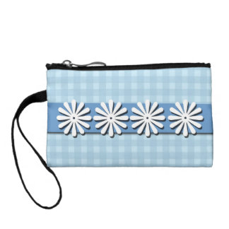 Pretty Checks and Flowers-Blue and White Change Purse