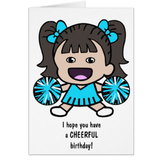 Pretty Cheerleader Birthday Card for Girls