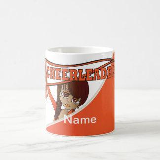 Pretty Cheerleader Girl in Orange | Personalize Basic White Mug