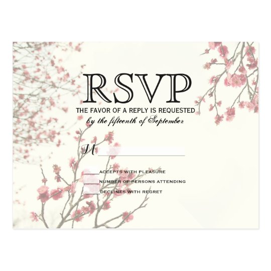 Pretty Cherry Blossom Trees on Elegant White Postcard