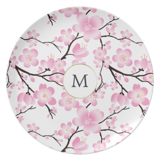 pretty cherry blossom vintage intial customisable plate