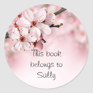 Pretty Cherry Blossoms Personalized Classic Round Sticker