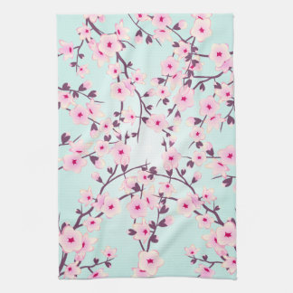 Pretty Cherry Blossoms Pink Turquoise Tea Towel