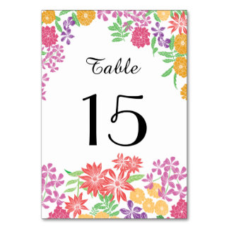 Pretty chic elegant floral table number