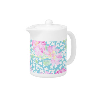 Pretty China Teapot, Pink Roses, White Butterflies
