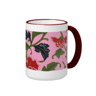 Pretty Chinese Floral Pattern Ringer Mug