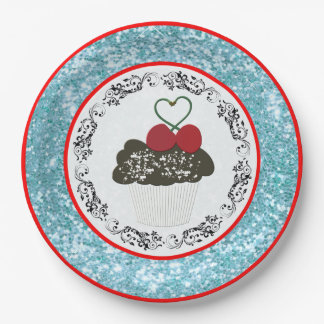 Pretty Chocolate Cupcake with Heart Blue Glitter Paper Plate