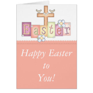 Pretty Christian Cross Easter Greetings Card