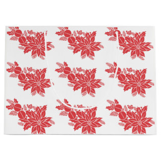 Pretty Christmas Poinsettia Large Gift Bag