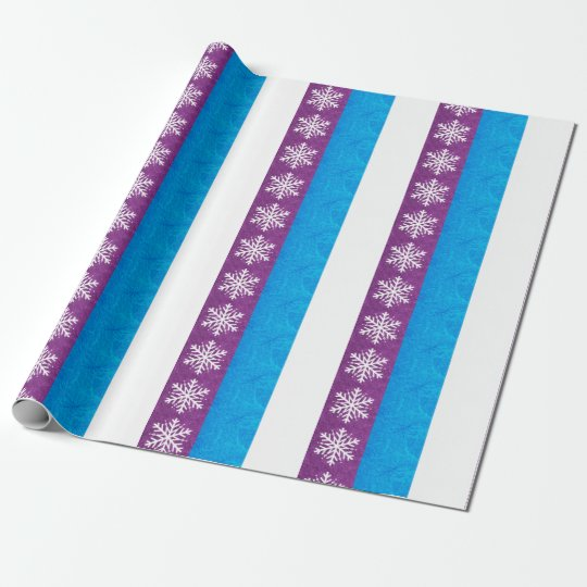Pretty Christmas Snowflake Purple & Blue Gift Wrap