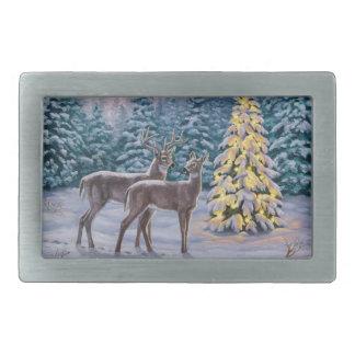 Pretty Christmas Tree & Deer Snow Scene Belt Buckle