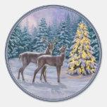 Pretty Christmas Tree & Deer Snow Scene Round Sticker