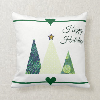 Pretty Christmas trees and hearts festive Cushion