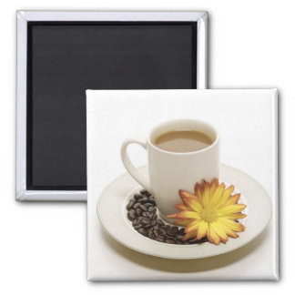 Pretty Coffee Cup with Flower Square Magnet