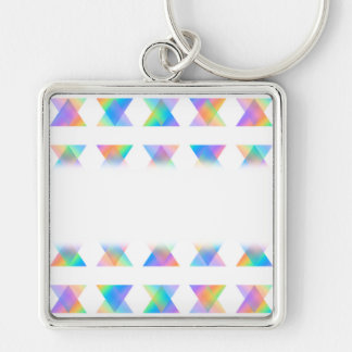 Pretty Colorful Abstract Pattern. Silver-Colored Square Key Ring