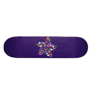Pretty Colorful Floral Star Skateboard Deck