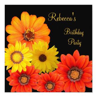 Pretty Colorful Flowers Black White Yellow Orange 13 Cm X 13 Cm Square Invitation Card