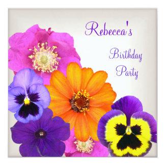 Pretty Colorful Flowers Cream White Yellow Purple Card