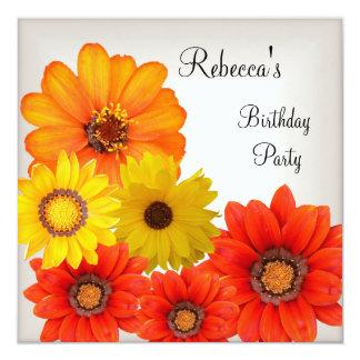 Pretty Colorful Flowers White Yellow Orange 13 Cm X 13 Cm Square Invitation Card