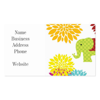 Pretty Colorful Hippie Elephant Flower Power Business Card Templates