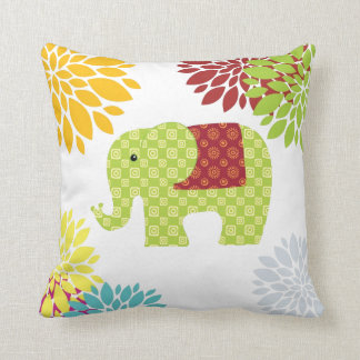 Pretty Colorful Hippie Elephant Flower Power Cushion