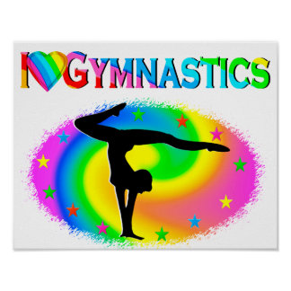 PRETTY COLORFUL I LOVE GYMNASTICS DESIGN POSTER
