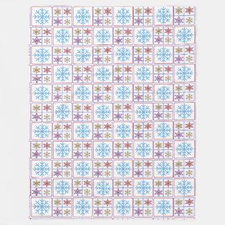 Pretty Colorful Snowflakes Large Fleece Blanket