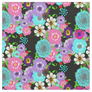 Pretty Colorful Spring Floral And Lady Bug Pattern Fabric