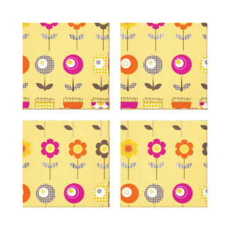 Pretty Colorful Spring Flowers Whimsical Pattern Stretched Canvas Prints