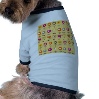 Pretty Colorful Spring Flowers Whimsical Pattern Pet Tshirt