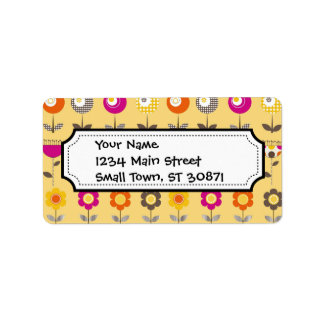 Pretty Colorful Spring Flowers Whimsical Pattern Address Label