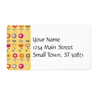 Pretty Colorful Spring Flowers Whimsical Pattern Shipping Label