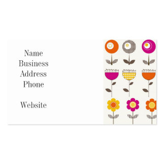 Pretty Colorful Spring Flowers Whimsical Pattern Pack Of Standard Business Cards